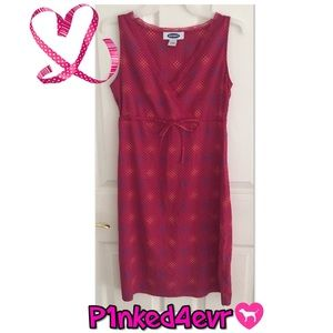 Old Navy Pink/Red Cross Neck Sleeveless Dress